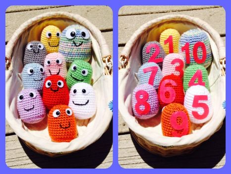 Mini monster amigurumi counting color plush toys  by magpie89