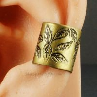 Leaf Stamped Brass Ear Cuff by sylva