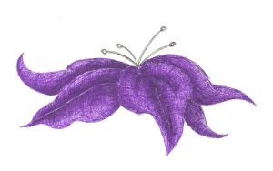 Creepy purple flower by BlueRavenAngel