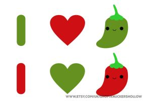 Cute vector I love chilli illustration print by Knuckers-Hollow