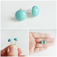 Turquoise Glass  Cabochon Silver Stud Earrings by crystaland