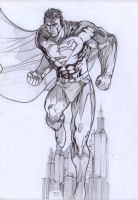 superman sketching by rzart