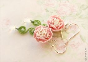 Earrings Pink Peonies 1 by allim-lip