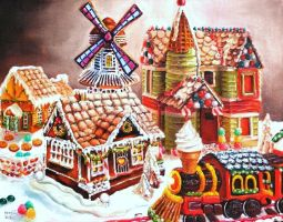 Gingerbread village by veracauwenberghs