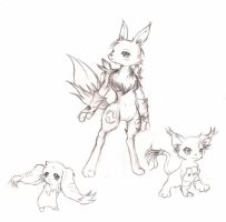 Lopmon, Renamon, Gatomon by Tigermew