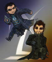 JC Denton and Adam Jensen by DelasShadow