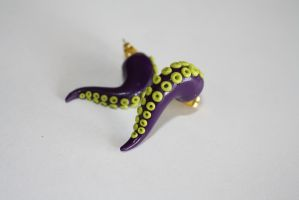 Polymer Clay Tentacle Earrings in Purple and Green by VerUniqueCreations
