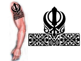 Sikh Khanda tribal tattoo by thehoundofulster