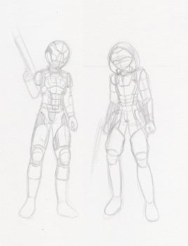 Character Design: Soldiers Sketch by NisuKitsune