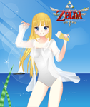 Zelda at the Beach by FlyingPrincess