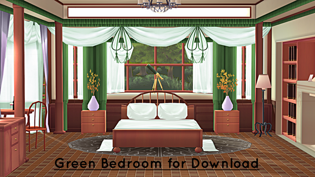 Green Bedroom Stage for MMD Download by swiftcat-mooshi