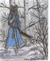 Wolf Anthro in Snow by RussellTuller