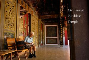 Old Tourist in Oldest Temple by PictureOfIndonesia