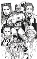 Batman 66 finished inks jam piece rogues gallery by SammyG23