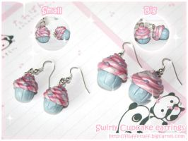 Swirly Cupcake Earrings by Fluffntuff