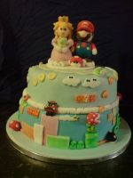 Mario and Peach Grooms Cake by Catzombies