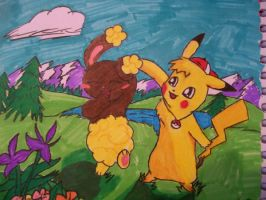 Pikachu and Buneary coloured by MewXGirl