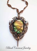 Wooden Elf Ornament  - mulicolor labradorite by blackcurrantjewelry