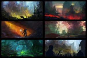 sketches - tests - composition - colors by Grosnez