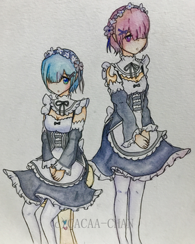 [Fanart] Ram and Rem by Cacaa-chan