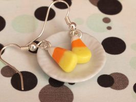 Candy Corn Earrings by DeliciousTrickery