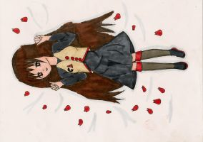 Clara in a bed of rose petals by HavensGoneMad