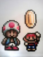 Fuse Bead Mario and Toad by ProbonoBear