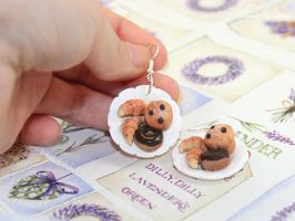 Earrings with pastries by OrionaJewelry