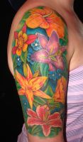 sheena's flower arm tattoo by asussman