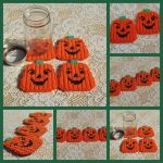 Set of 4 Plastic canvas Jack O Lantern coasters by bedtymegal