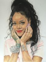 My first color drawing portraits.. ' Rihanna ' by ErenLACIN