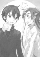 Kazuto and Asuna by MoonsterGrin