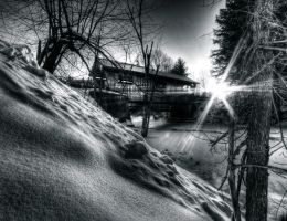 Covered Bridge Sunset 1 BW by IraMustyPhotography