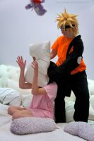 Pillow Fight_Hinata and Naruto by Yamaki-Chiya