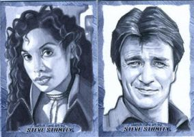 Firefly/Serenity: Zoe and Mal Sketch cards by SteveStanleyArt