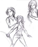 Katniss Sketch Dump by Ratgirlstudios