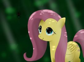 Fluttershy, spider in the woods by MrIcantdraw