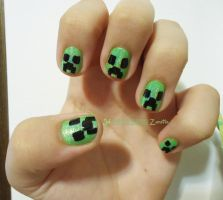 Creeper Nail Art by julszanette