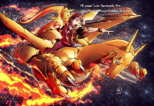 Pokemon Red n Charizard COLORED by marvelmania