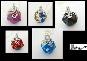 New D20 pendants by HoneyCatJewelry