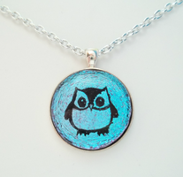 Color Changing Owl Dichroic Fused Glass Pendant by HoneyCatJewelry