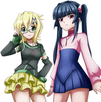 Kirika and Shirabe Commission 1 Coloring by Planeptune