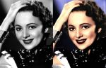 Olivia de Havilland before and after colorization by ThinkingKind