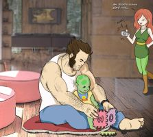 Wolverine and Mutant Baby by yeyforme