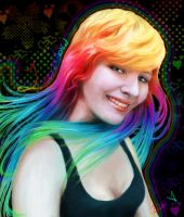 Self-portrait rainbow hair by lane-nee-chan