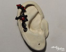 Black flower tiny ear cuff by bodaszilvia