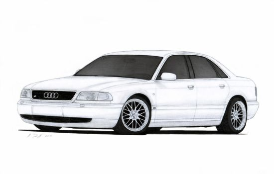 Audi S8 (D2) Drawing by Vertualissimo