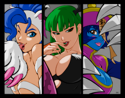 Ladies From Darkstalkers Redone by locoarts92