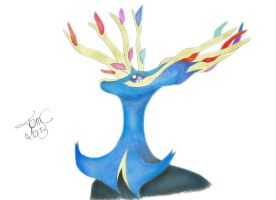 Xerneas (drawing) by FeelDaViibe