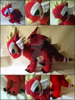 Large red dragon plush commission by nightelfy